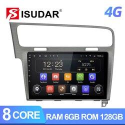 Автомагнитола Isudar T72, Android 10, для VW/Volkswagen/Golf 7, GPS, автомобильный мультимедийный плеер, Восьмиядерный процессор, ОЗУ 6 ГБ, ПЗУ 128 ГБ, FM, разъем 2DIN