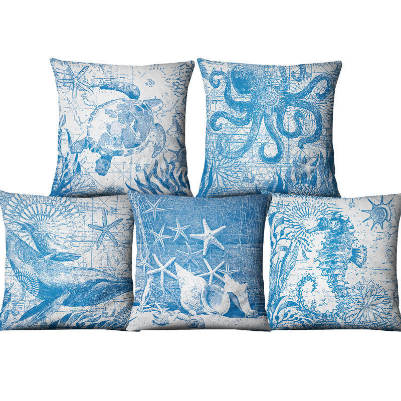 Single sided Printing Linen Decorative Blue Sea Cushion Cover Marine Animals Ocean Throw Pillow Case for Sofa Chair Car Couch in Cushion Cover from Home Garden