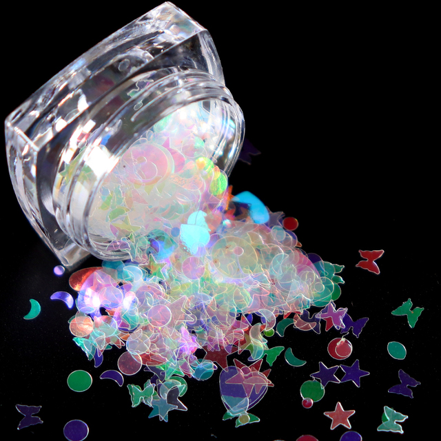 1 Box Holographic Butterfly Shape Nail Glitter Flakes Sparkly 3D  Colorful Sequins Spangles Polish Manicure Nails Art Decoration 4