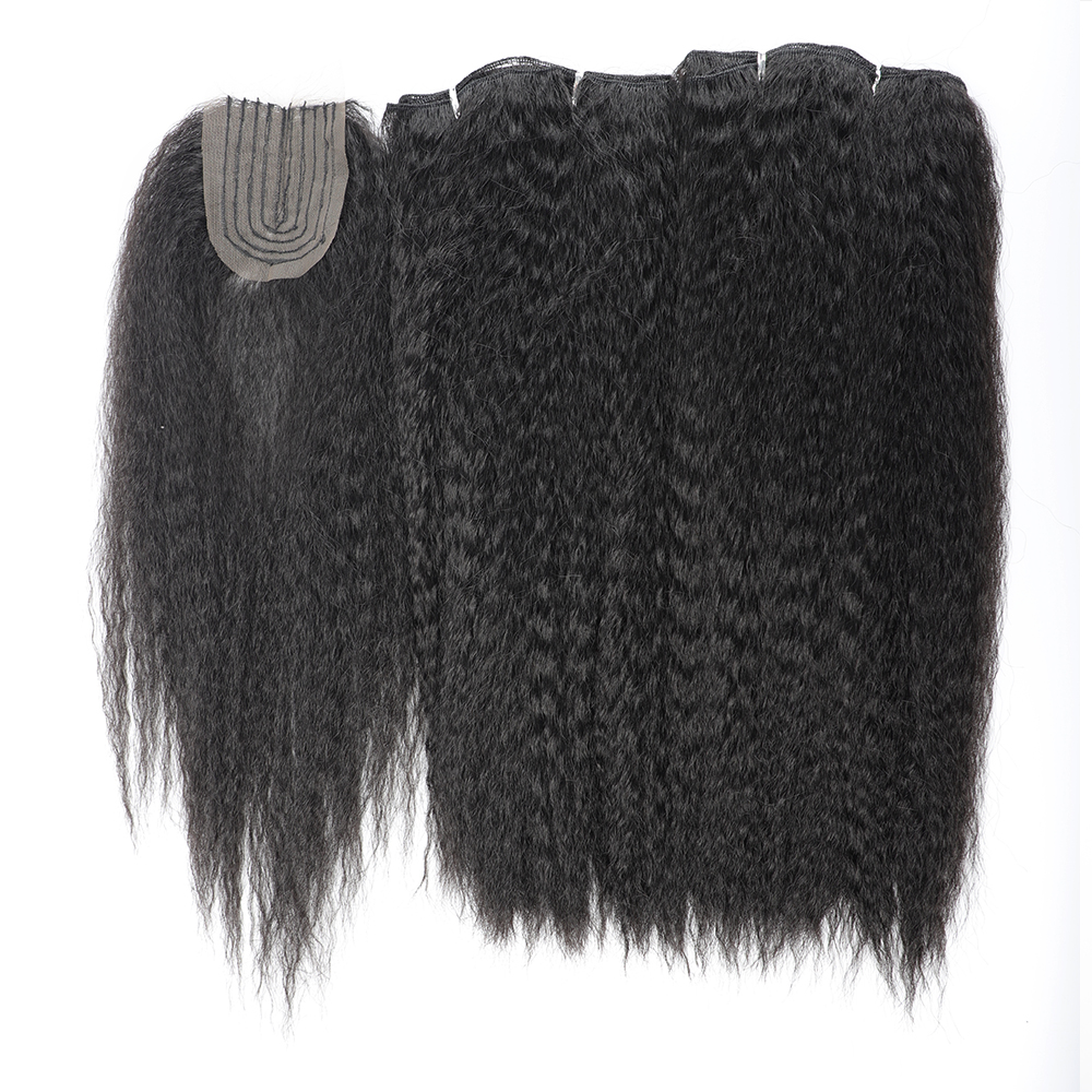Synthetic Hair Bundles with Closure Kinky Straight Synthetic Sew in Weave Hair Bundles Women Weavon 2 Bundles with Closures