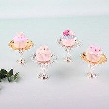2 Piece Gold Silver Cake Stand Set Round Metal Cupcake Dessert Display Pedestal Wedding Party stand Home decora