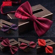 Мужской галстук-бабочка, свадебное красное официальное платье, галстук-бабочка для жениха, винно-Красные праздничные рубашки с галстуком-бабочкой, Свадебный Мужской галстук-бабочка