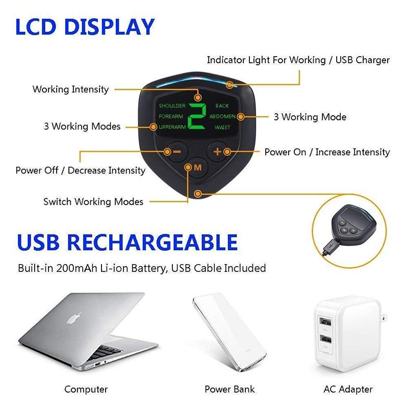 USB Перезаряжаемый электрический стимулятор мышц живота EMS тренажер ABS Тренажерный Зал Фитнес Массаж тела Упражнение lcd тренировка живота