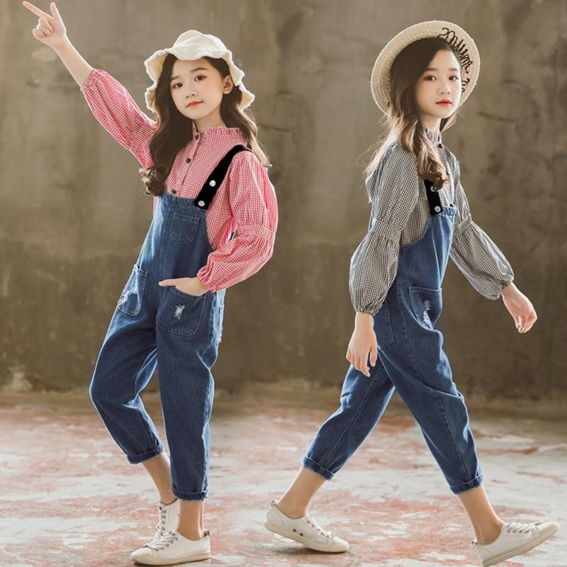 Filles Boutique tenues enfants vêtements printemps automne filles vêtements ensembles à manches longues Plaid T-shirts + Cowboy sangles pantalons costumes