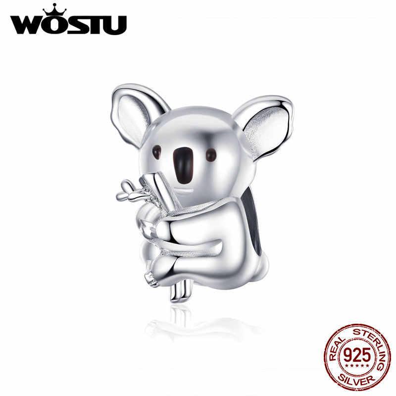 WOSTU קואלה בעלי החיים חרוזים 100% 925 סטרלינג כסף קסם Fit מקורי DIY צמיד תליון חתונה כסף תכשיטי ביצוע CTC093