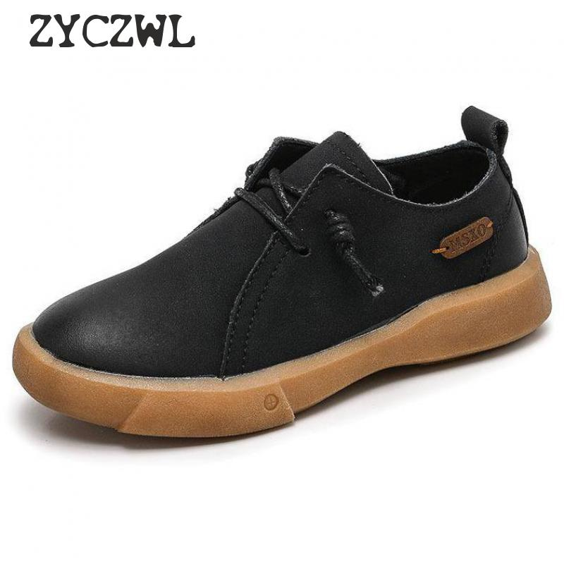 New Boys Leather Shoes Kids Genuine