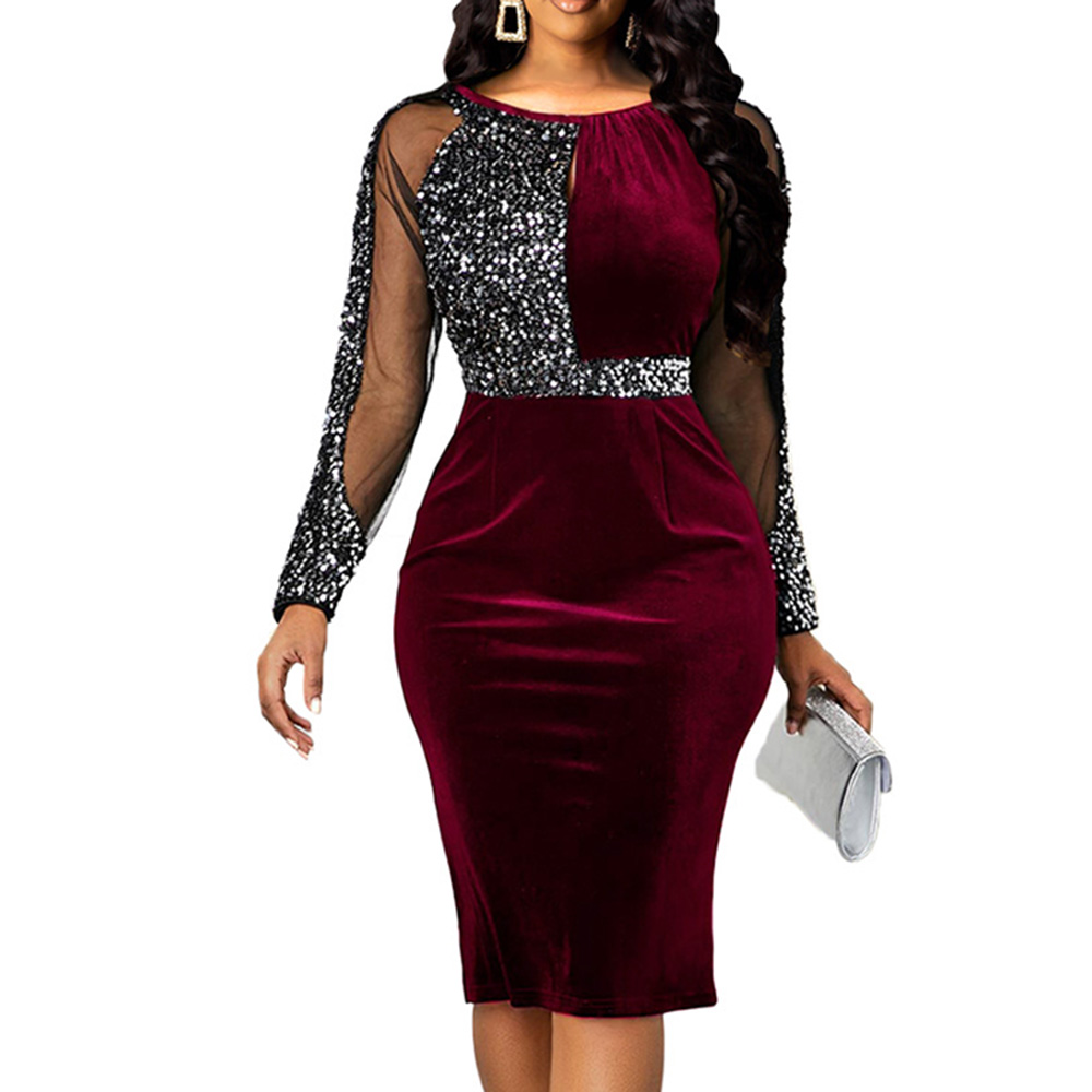 Sequinis Elegant Cocktail Party Dress Women Patchwork Mesh Illusion Midi Dresses Long Sleeve Robe 2020 Summer Bodycon Dress