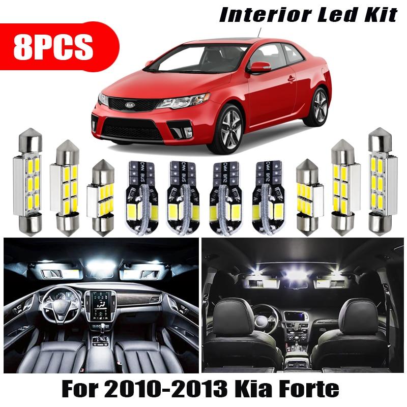 Для 2010-2013 Kia Forte автомобильные аксессуары белый интерьер 8 светодиодный т. светодиодные лампы комплект T10 31 мм 39 мм карта купольная лампа бага...