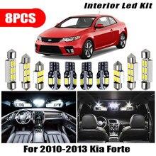 Para 2010-2013 kia forte acessórios do carro branco interior 8 pçs led lâmpadas pacote kit t10 31mm 39mm mapa cúpula tronco lâmpada