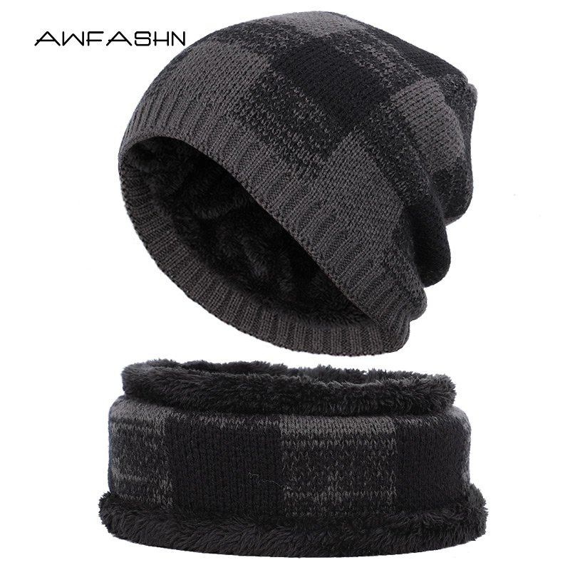2019 Hot New High Quality Winter Warm Knit Beanie Scarf Sets Women Men Thick Lining Plus Velvet Casual Hat Soft Cap Bonnet Ski