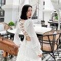 В европейском стиле Винтаж Белый Boho Летнее платье с высокой талией ампир кружевное платье класса люкс с низким вырезом на спине, женские пик...