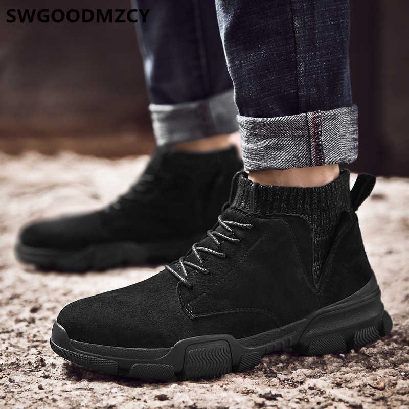 黒アンクルブーツ男性デザートブーツチェルシーブーツ男性の靴 + 男性 bota ş moto hombre erkek ayakkabi zapatos デ hombre sepatu pria