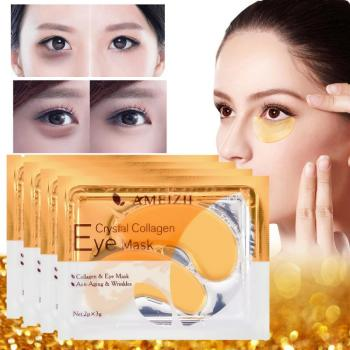 2Pcs=1Pair 24K Gold Crystal Collagen Eye Mask Eye Patches For Eye Care Dark Circles Remove Anti-Aging Wrinkle Skin Care TSLM2 1