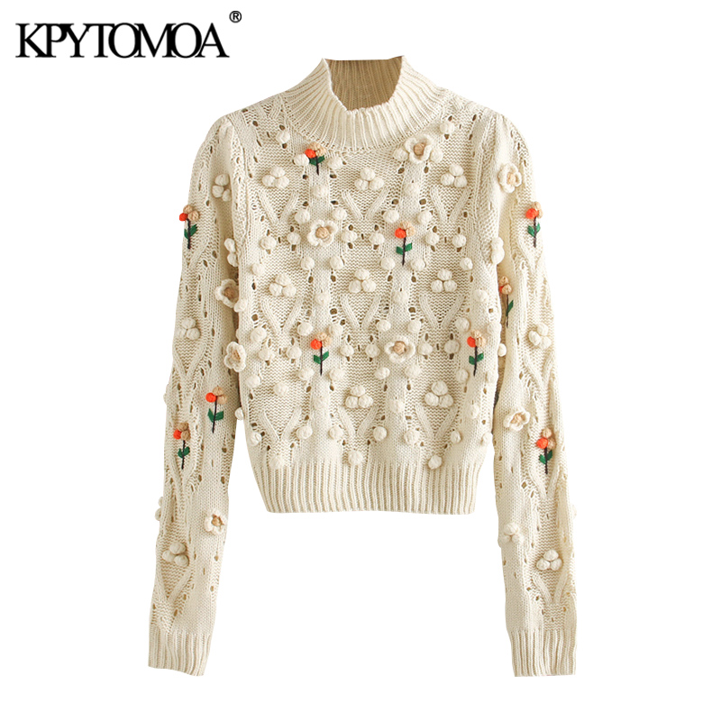 KPYTOMOA Women 2020 Fashion Floral Appliques Cropped Knitted Sweater Vintage High Collar Long Sleeve Female Pullovers Chic Tops