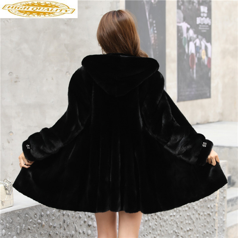 Luxury Real Mink Fur Coat Female Natural Fur Jackets Winter Jacket Women Long Coats And Jackets Women Clothes 2020 MY