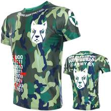 Fitness Muscle Fighting Boxing Camouflage Short-sleeved Sports Sanda Training Stretch T-shirt Fight MMA Quick-dry Running Shirts(China)