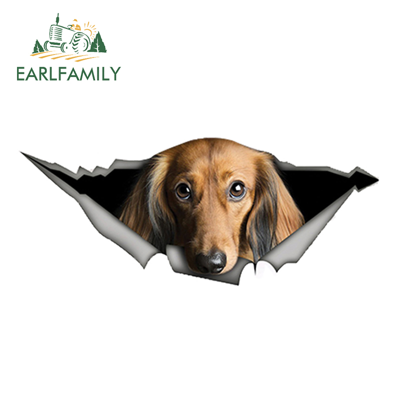 EARLFAMILY 13cm X 5.4cm Red Long-haired Dachshund Car Sticker Torn Metal Decal Reflective Stickers Pet Dog Decals 3D Car Styling