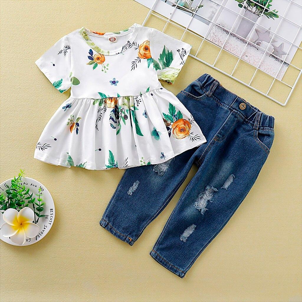 Baby Kids Girl clothes ropa niña одежда для новорожденных Short Sleeve Floral Print T-shirt Tops+Ripped Jean Pants Outfits 1