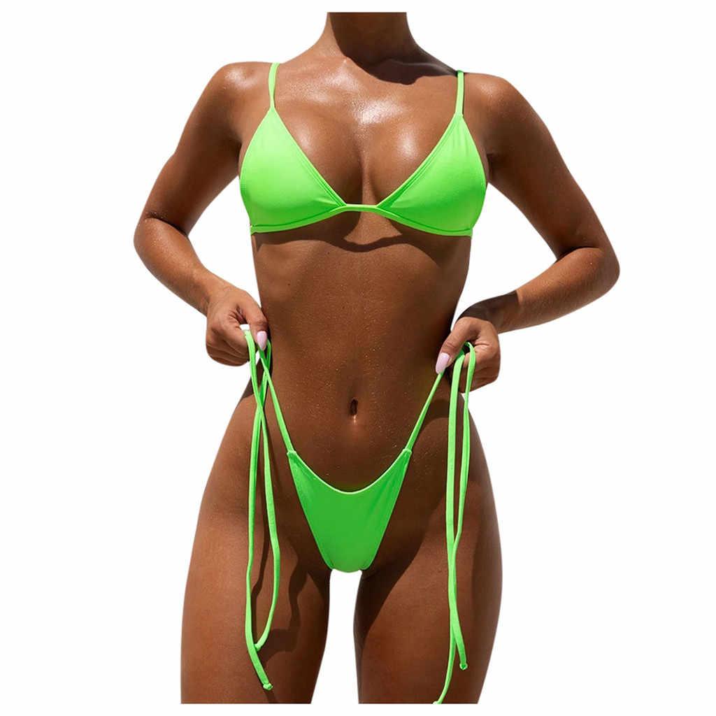 طقم بيكيني صغير رفع مبطن سلسلة ثونغ ملابس السباحة الإناث ملابس السباحة مثير النساء Biquini الصيف الاستحمام ثعبان طباعة بيكيني # YL5