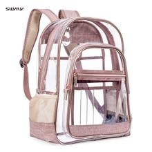 Women Mini Transparent Backpacks Clear PVC Zipper Student School Bag Bags for Teenage Girls Travel Mochila Mujer