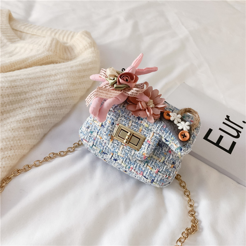 Pearl Flowers Coin Purse Girl Kawaii Shoulder Bags Knitted Mini Pink Crossbody Bags for Women Vintage Party Clutch Cute Handbag