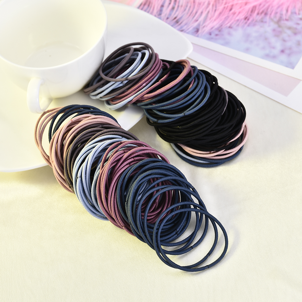 New 100PCS/Lot Women Girls Candy Colors Nylon 5CM Rubber Bands Safe Elastic Hair Bands Ponytail Holder Kids Hair Accessories