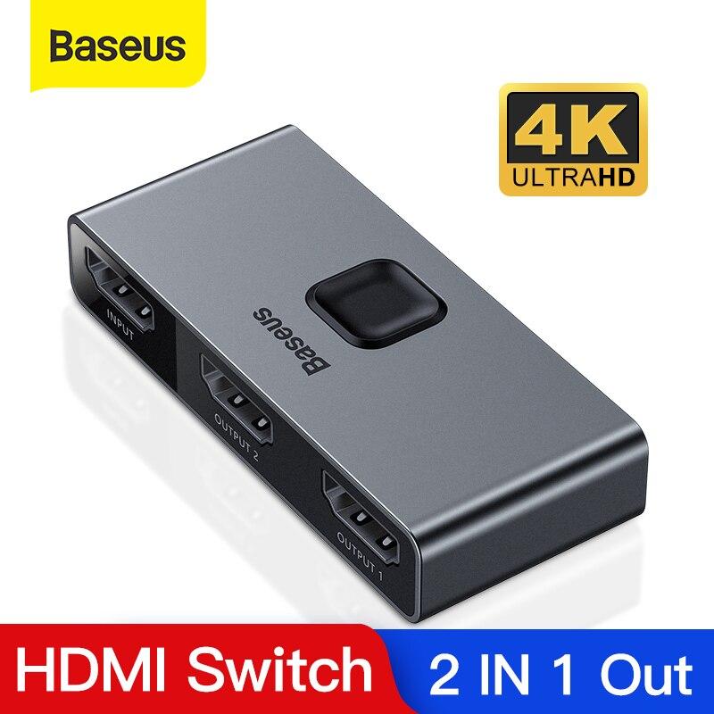 Baseus HDMI Splitter 4K 60Hz Bi-Direction HDMI Switch 1x2/2x1 HDR HDMI Audio Adapter For PS4 TV Box HDMI Switcher