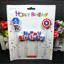 captain america shield happy birthday candle party supplies cake decorating super heroes candles for cakes