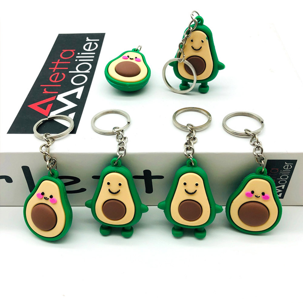 Keychain Fashion Simulation Fruit Avocado Smile-shaped 3D Soft Resin Avocado Key Chains Jewelry Fashion Wedding Party Gift