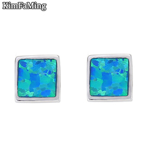 Hot Trendy Small Square Opal Stud Earrings 100% 925 Sterling Silver Jewelry for Girl Boys Sporty Casual OPE024
