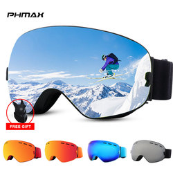PHMAX Anti-Fog Ski Goggles Men Women Double Layers Snowboard Goggles UV400 Protection Ski Mask Glasses Winter Ski Sunglasses