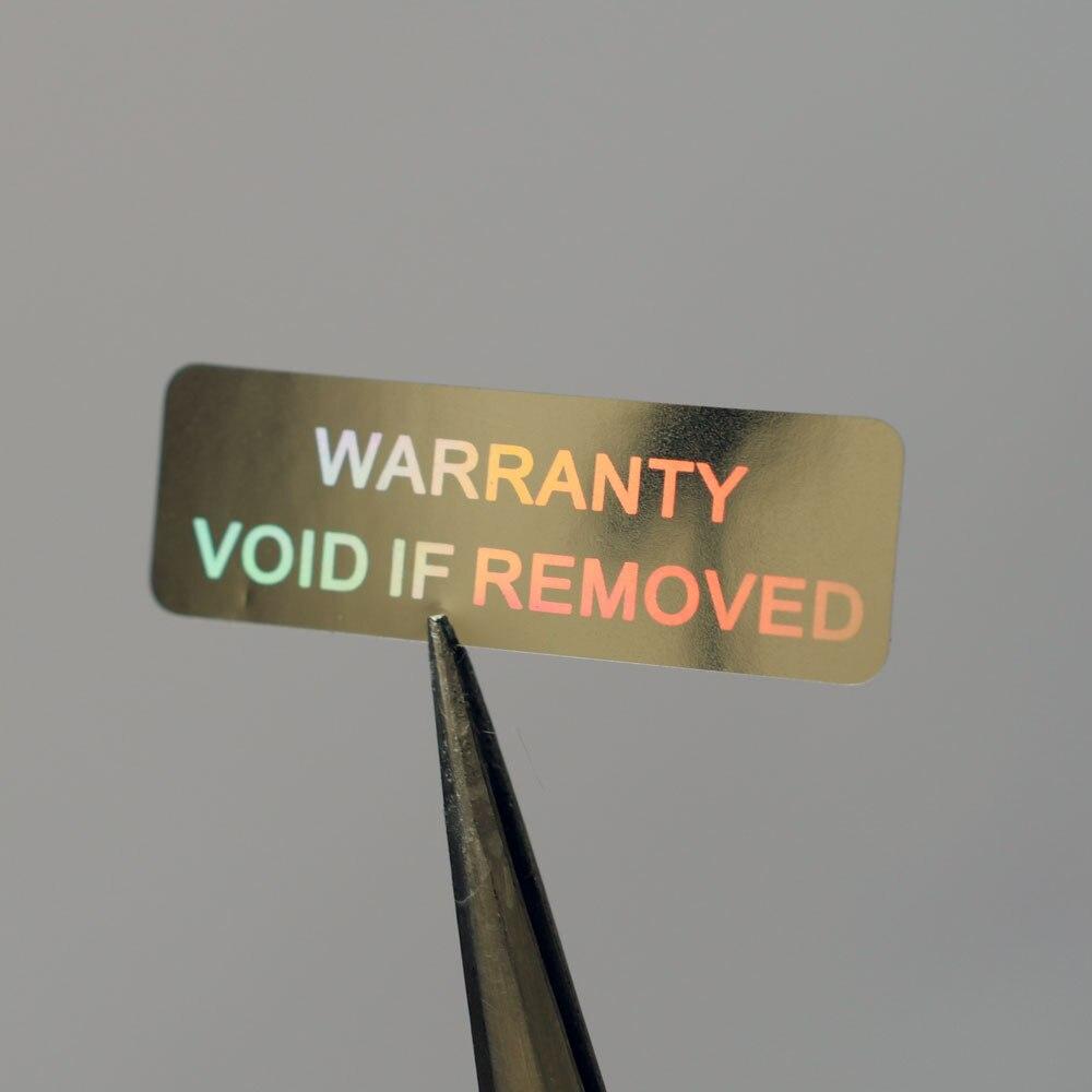 Гарантия аннулируется при удалении 10x30 мм голограмма безопасности для одноразового использования Серебристая цветная голографическая нак...