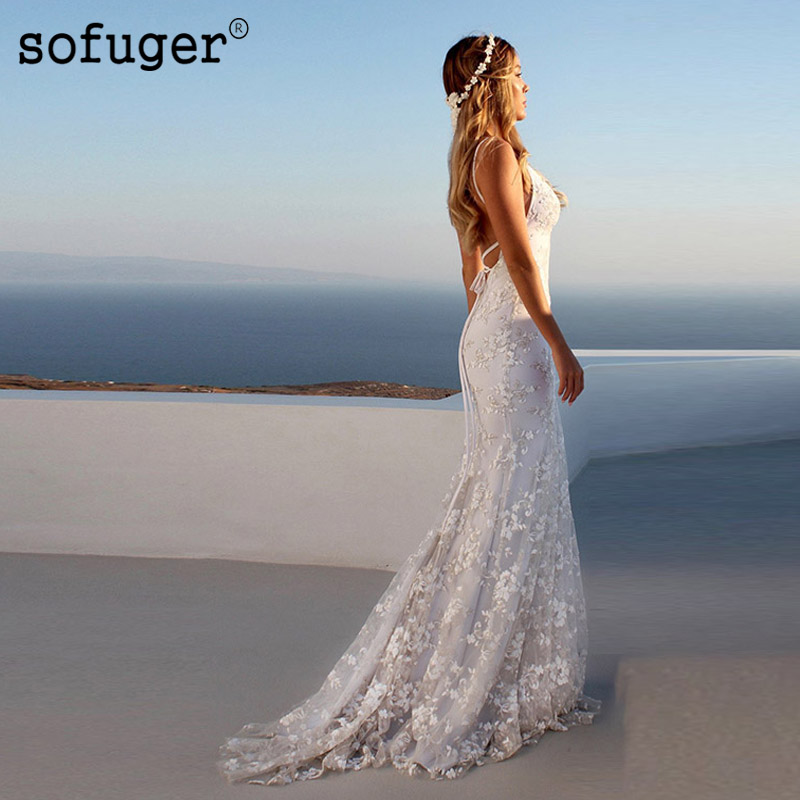 Sexy Lace Mermaid Ivory White Wedding Dress V Neck Boho Robe De Mariee Sofuge Dubai Arabic Abiti Da Sposa