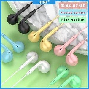 Image 1 - JTKE – écouteurs intra auriculaires couleur Macaron, 3.5mm, HIFI, oreillettes de dessin animé, avec micro, pour Iphone Xiaomi Huawei