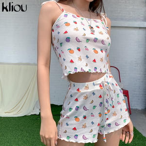 Kliou sweet 2 piece sets womens outfits camisole crop top+shorts fruit print fashion v-neck streetwear skinny female clothes