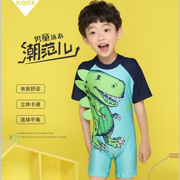 Cute Cartoon Korean-style Medium And Small Male Baby Hot Springs One-piece Boxer Infants KID'S Swimwear With Hat