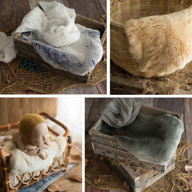 Newborn Photography Props Baby Fur Blanket Infant Photo Shoot Accessories Container Filler Soft Blanket Irregular Edge Fur
