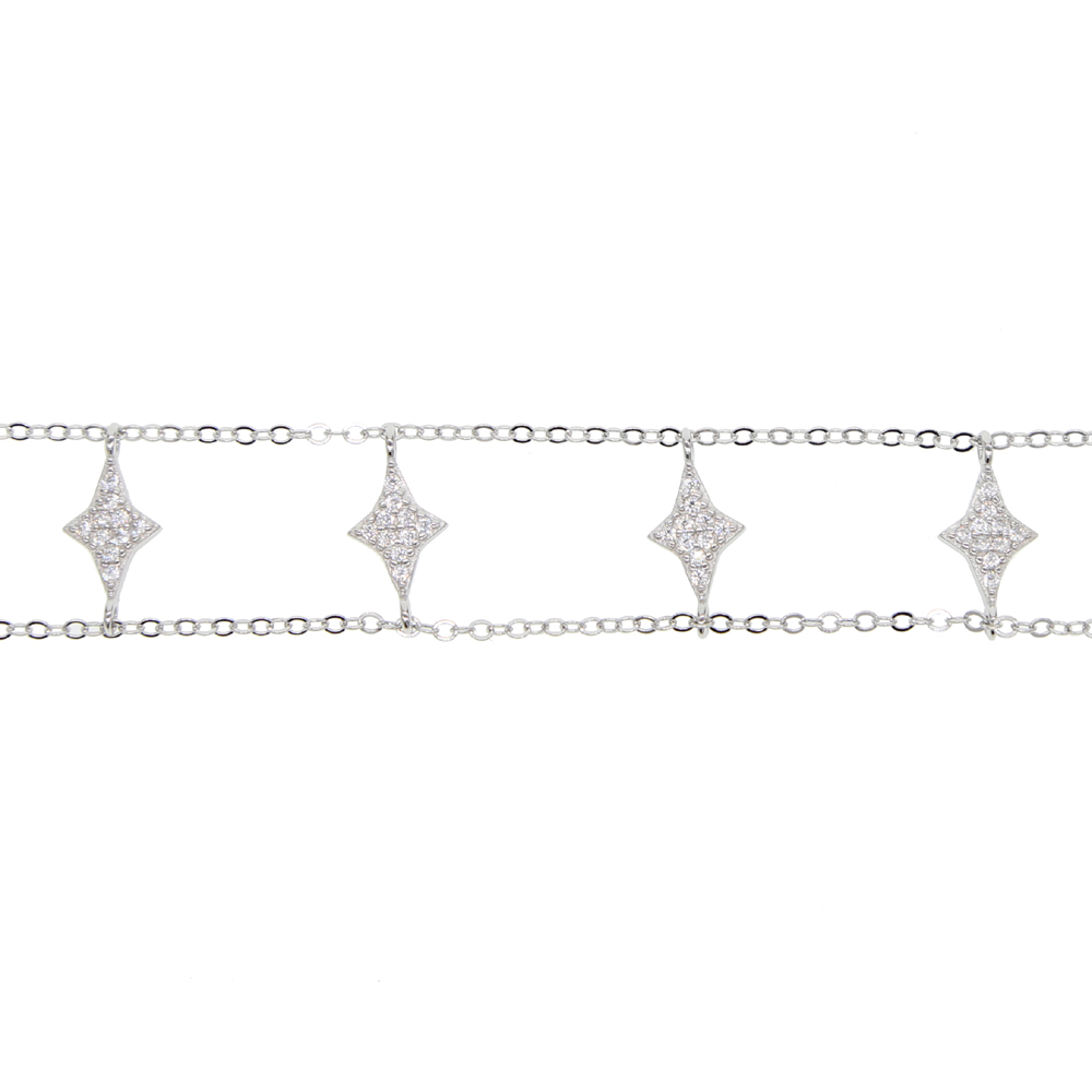 fashion aaa cz mirco paved 925 sterling silver cute Star charm choker with double chain setting women wedding short necklaces
