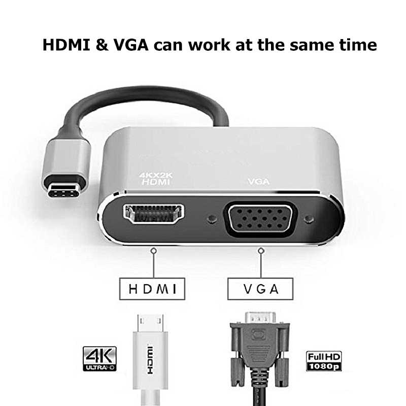 Rankman Tipo C Para Hdmi 4k Usb C 3 1 3 0 Vga Hub Adaptador Cabo Para Macbook Samsung S9 Dex Huawei P30 Doca Projetor Tv Monitor Aliexpress