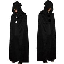 Вечерние костюмы унисекс на Хэллоуин, косплей, костюм смерти, персональный черный большой плащ для взрослых, накидка Призрака с капюшоном, лаконичный хлопковый плащ