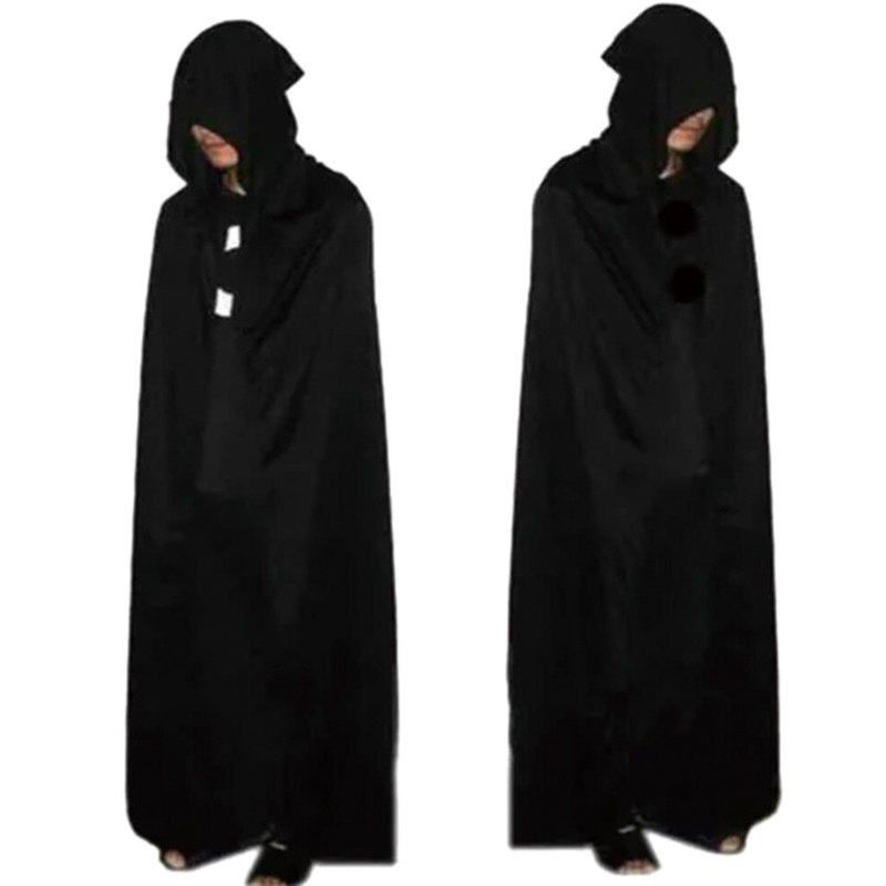 Unisex Halloween Party Cosplay Death Dress Up Costume Personality Black Adult Big Cloak Ghost Cloak Hooded Concise Cotton Cloak