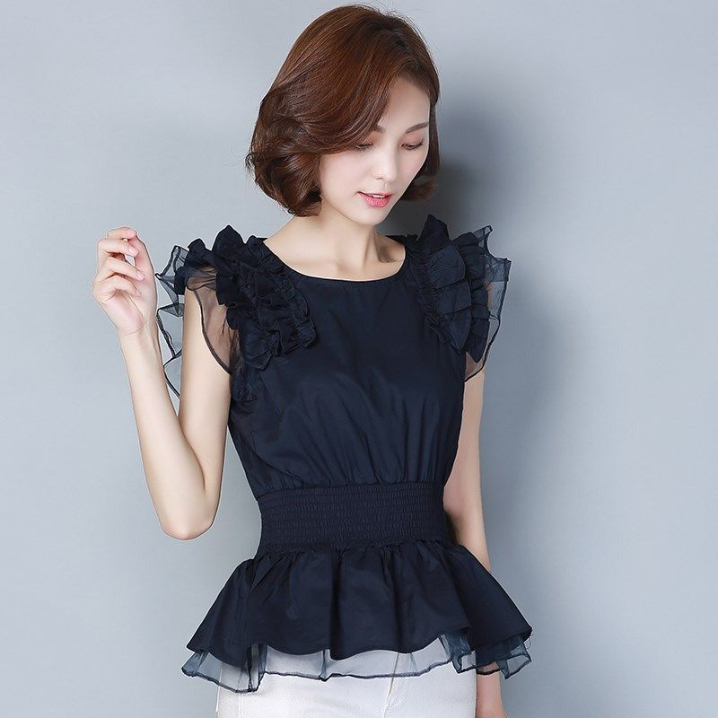 New Spring Summer Fashion Women's Splicing Chiffon Blouses O-Neck Casual Shirts Ruffle Sleeve Chiffon Elegant Tops DD8267