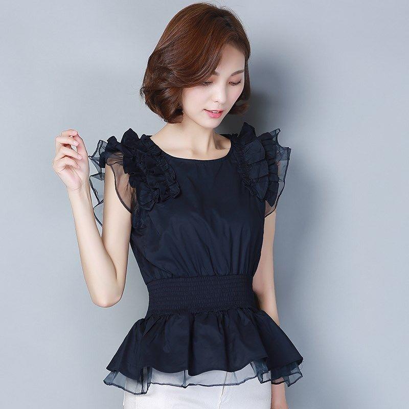 New Spring Summer Fashion Women's Splicing Chiffon Blouses O-Neck Casual Shirts Ruffle Sleeve Chiffon Elegant Tops DD8267