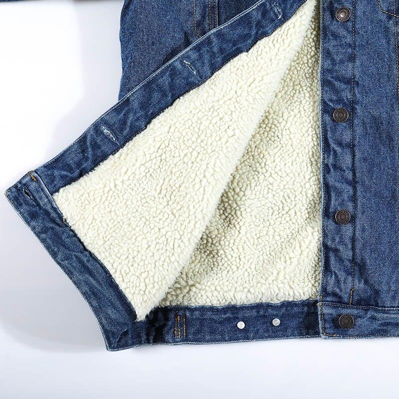 Autumn Winter Women Denim Fancy Jacket Slim Long Sleeve Knit Denim Stretch Denim Washed Blue Female Lady Coat - 5