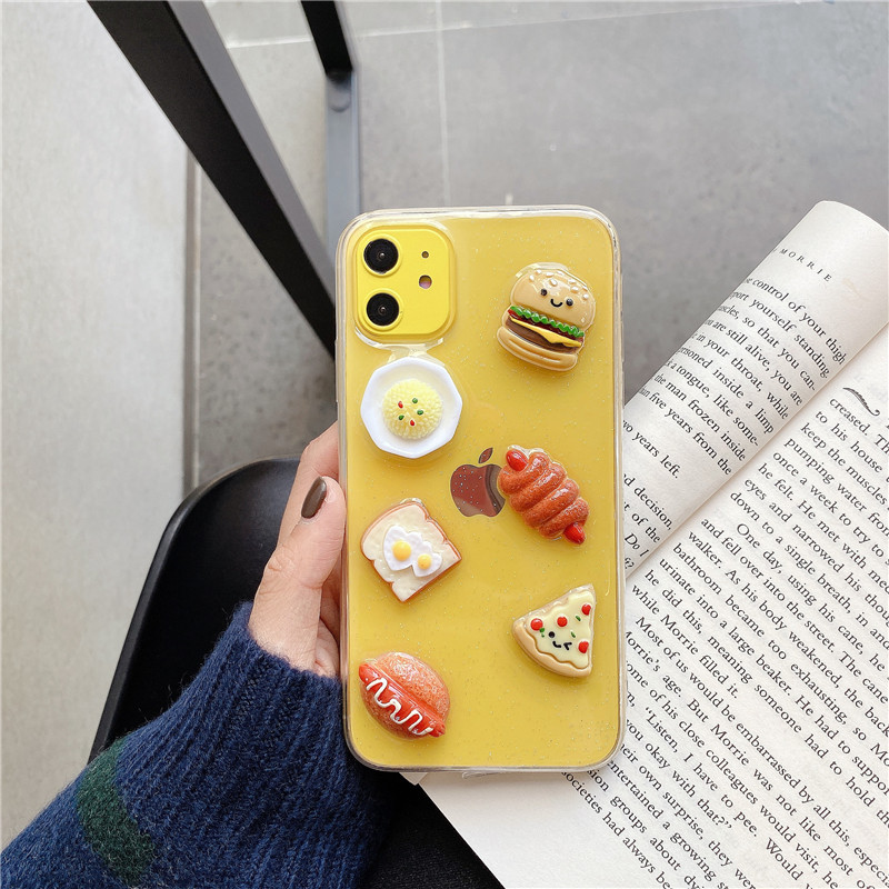 Clear Glitter 3D Foods Phone Case For Iphone 11 Pro Max 6 6S 78 Plus X XR XS Max Shiny Simple Soft TPU Back Cover Couple