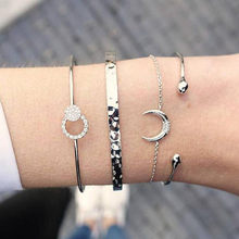 WUKALO New 30 Styles Bohemian Bracelets Bangles for Woman 4PC/set Silver Color Moon Beads Charm Party Wedding Bracelets()