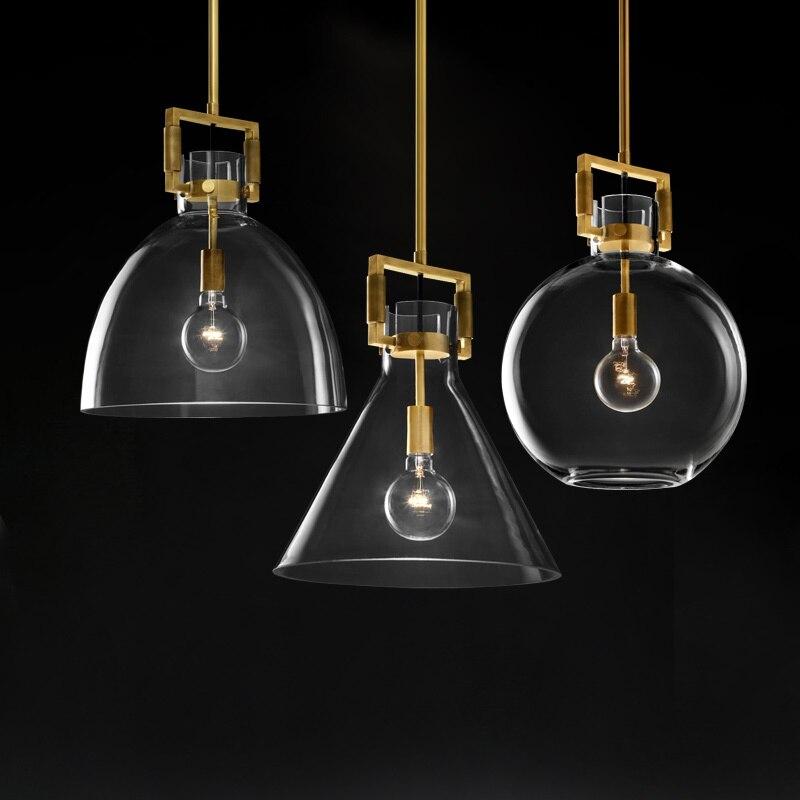 American Simple Copper LED Pendant Lights Bar Modern Restaurant Lighting Glass Bedroom Lights Luxury Bedside Hanging Lamps