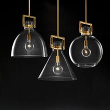 Americano simples luzes pingente de cobre led barra restaurante moderno iluminação luzes do quarto vidro luxo cabeceira pendurado lâmpadas
