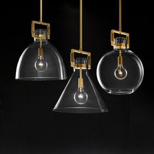 Image 1 - Amerikan basit bakır LED kolye ışıkları bar Modern restoran aydınlatması cam yatak odası ışıkları lüks başucu asılı lambalar