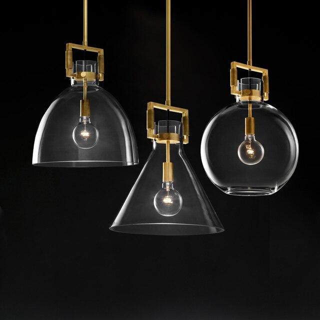 Amerikan basit bakır LED kolye ışıkları bar Modern restoran aydınlatması cam yatak odası ışıkları lüks başucu asılı lambalar